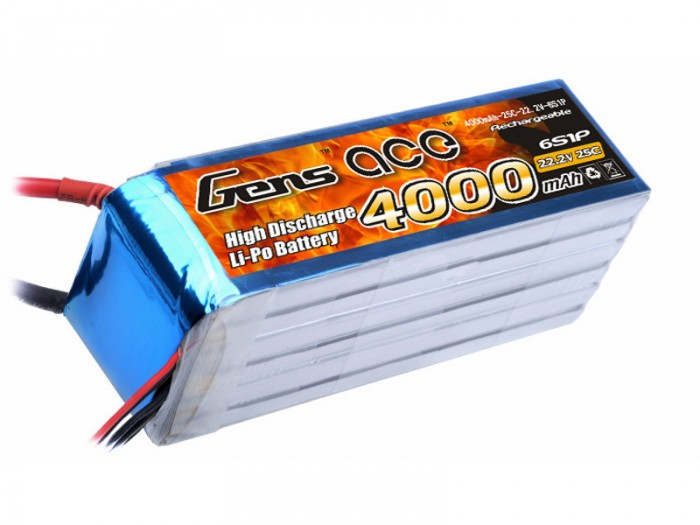 View Product - Gens ACE LiPo - 6S 4000mAh 22,2 V 25C 6S1P