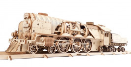 Wooden 3D Mechanical Puzzle – V-Expres Steam Train with Tender