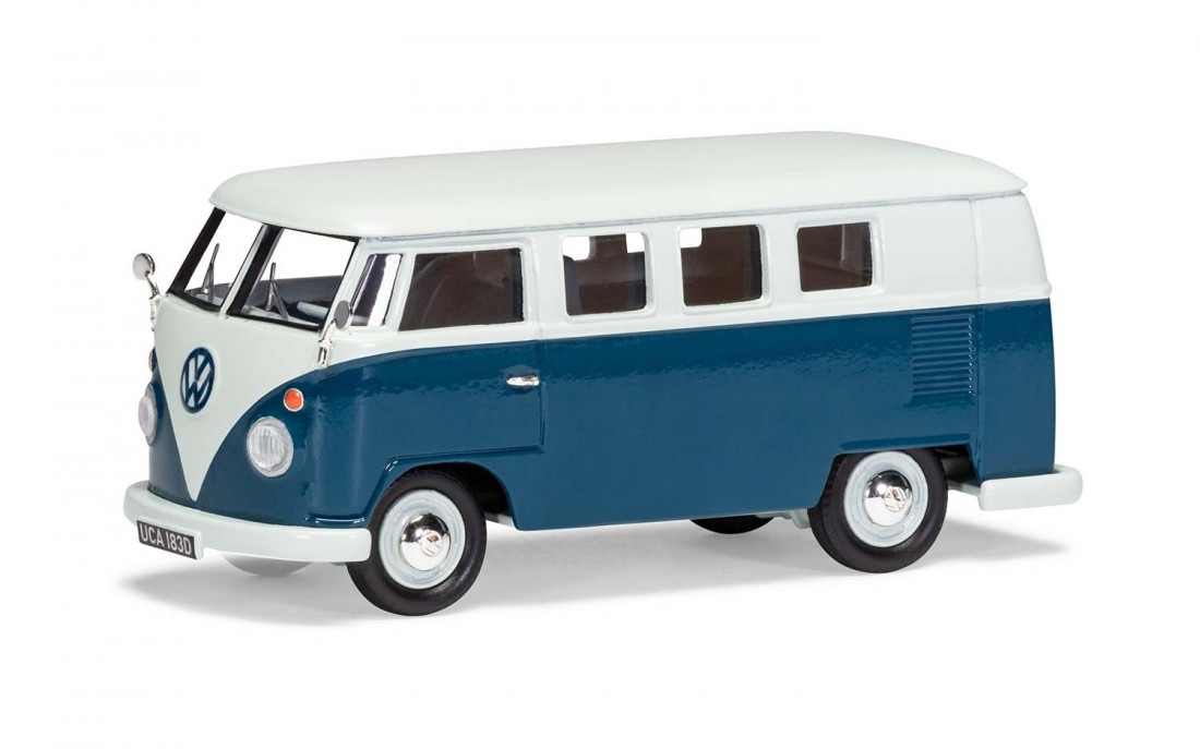 1:43 Volkswagen Type 2 Camper, Sea Blue and Cumulus White