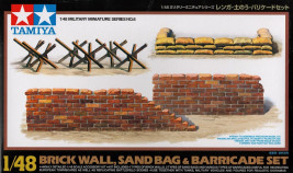 1:48 Brick Wall, Sand Bag & Barricade Set